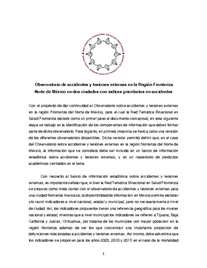 thumbnail of Observatorio sobre accidentes y lesiones externas en la región Fronteriza del Norte de México