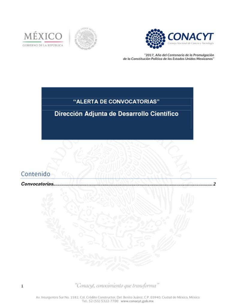 thumbnail of Boletín CONACyT Febrero 2017