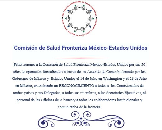 XX ANIVERSARIO COMISIÓN DE SALUD FRONTERIZA MÉXICO-ESTADOS UNIDOS
