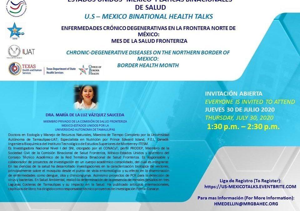 Pláticas Binacionales de Salud Invita el Departamento de Servicios de Salud de Texas, la Oficina de Salud Fronteriza  y el Centro de Educación en salud del área (AHEC)